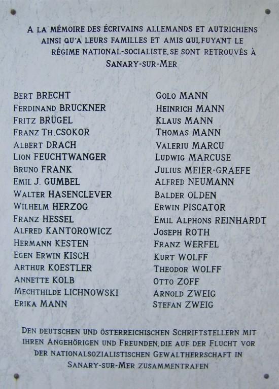 Gedenktafel in Sanary-sur-Mer