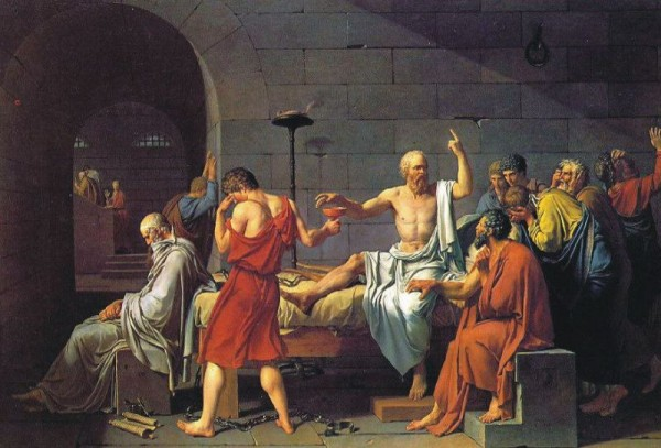 Sokrates wird der Schierlingsbecher gereicht